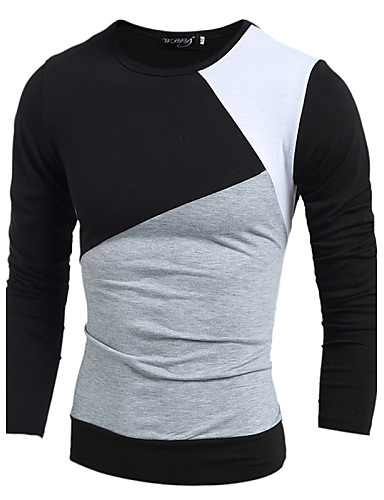 Men's Daily Sports T-shirt,Solid Color Block Long Sleeves Cotton