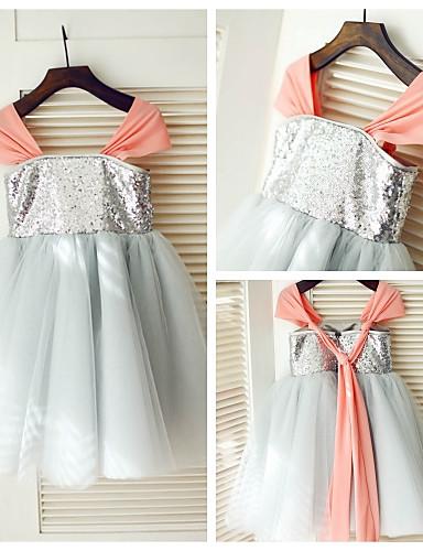 A-Şekilli Diz Boyu Şifon Tül Payetli Payetler ile Çiçekçi Kız Elbisesi tarafından LAN TING BRIDE®