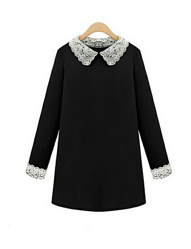 Для женщин Большие размеры На каждый день Очаровательный Прямое Кружева Рубашка Платье Однотонный,Рубашечный воротник Мини Длинный рукав