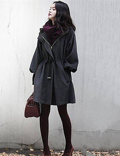 Women's Street chic Cotton Coat - Solid Colored, Modern Style