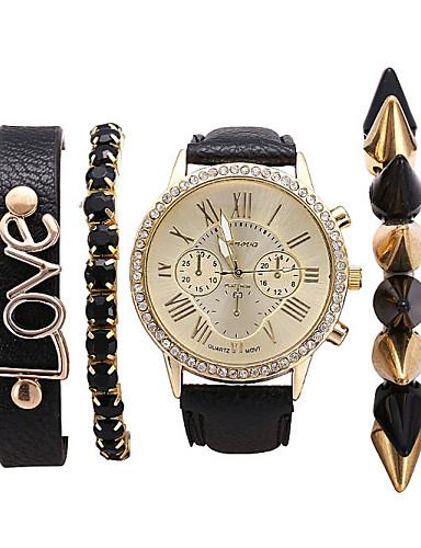 Mulheres Homens Unisexo Relógio de Moda Bracele Relógio Quartzo PU Banda Boêmio Elegantes Preta