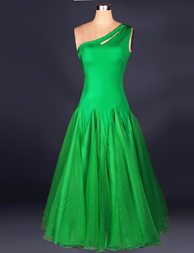 Ballroom Dance Dresses Women's Performance Chinlon Crepe Draping Sleeveless Dress