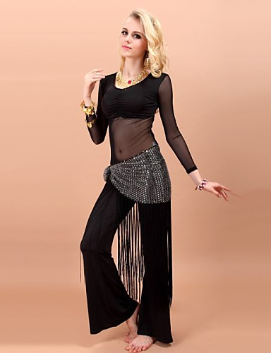 Belly Dance Outfits Women's Performance Rayon Spandex Tassel(s) 3 Pieces Top Pants Waist Belt