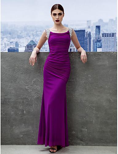 Eng anliegend U-Ausschnitt Knöchel-Länge Chiffon Abiball / Formeller Abend Kleid mit Gerafft durch TS Couture®