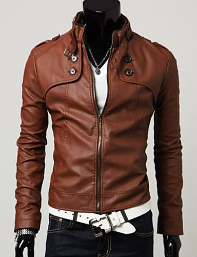 cheap Leather Jackets-Men's Weekend Spring / Fall / Winter Regular Jacket, Solid Colored Stand Long Sleeve Faux Fur / Faux Leather Black / Brown / Light Brown L / XL / XXL / Slim
