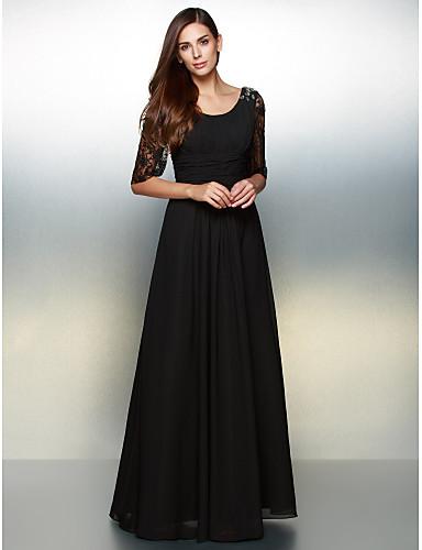 A-linje Scoop Neck Gulvlang Chiffon / Gjennomsiktige blonder Formell kveld Kjole med Blonder av TS Couture®
