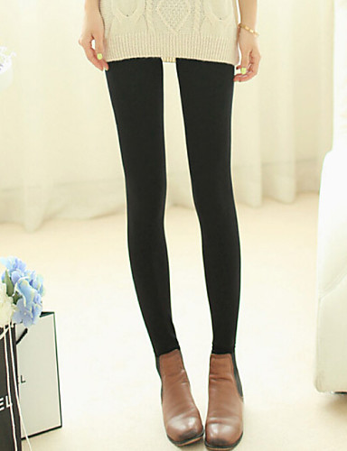Women's Fleece Lined Legging Solid Colored Mid Waist