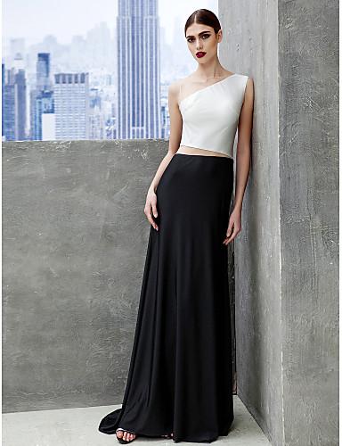 Γραμμή Α Bateau Neck Ουρά Τούλι Ζέρσεϊ Χορός Αποφοίτησης Επίσημο Βραδινό Μαύρο γκαλά Φόρεμα με Πλισέ με TS Couture®