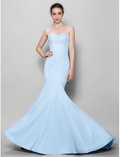 Mermaid / Trumpet Sweetheart Floor Length Chiffon Bridesmaid Dress with Pleats by LAN TING BRIDE®