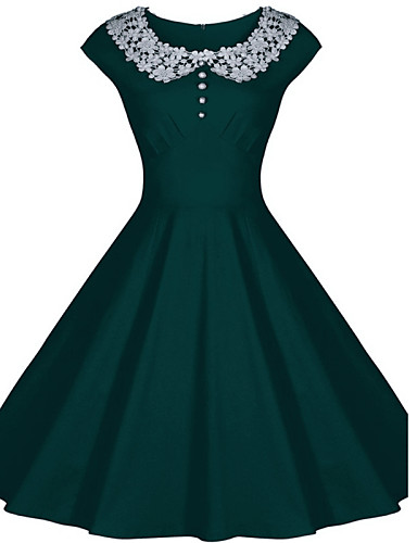 Women's Going out Vintage Swing Dress - Solid Colored Green Blue Pink L XL XXL