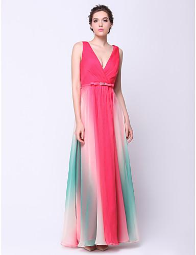 ts couture® baile formal, vestido de noite - cor do inclinação A linha V-neck Tornozelo de comprimento chiffon com criss cross