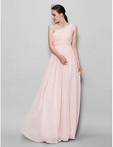 Γραμμή Α Ένας Ώμος Μακρύ Σιφόν Φόρεμα Παρανύμφων με Πλαϊνό ντραπέ με LAN TING BRIDE®
