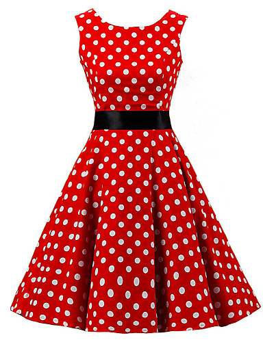 Women s Going out Vintage A Line Dress - Polka Dot Red 8d6705af4
