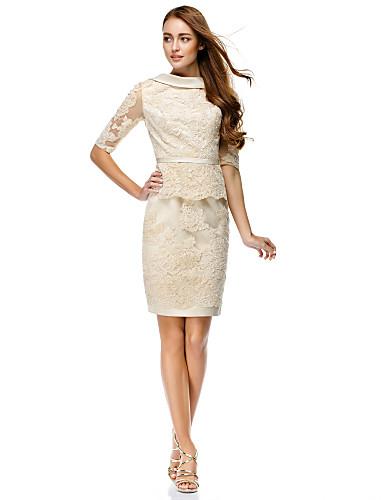 billige Formelle dresser-Tube / kolonne Båthals Kort / mini Heldekkende blonder Kjole med Appliqué / Belte / bånd av TS Couture®