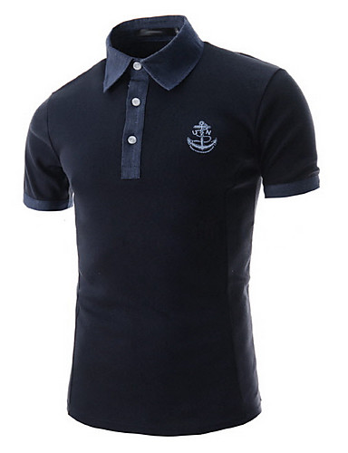 Men's Short Sleeve Polo , Cotton Casual Pure