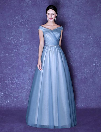 Ball Gown V-neck Floor Length Tulle Formal Evening Dress with Side Draping by SGSD