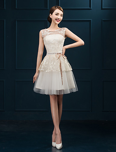3fdecac271c Sheath / Column Jewel Neck Short / Mini Tulle / Floral Lace Bridesmaid Dress  with Appliques by