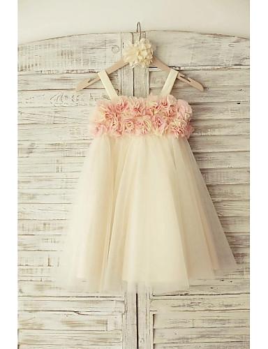 Sheath / Column Knee Length Flower Girl Dress - Tulle Sleeveless Straps with Flower(s) by LAN TING BRIDE®