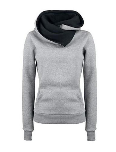 Women's Fleece Inside Long Sleeve Funnel Neck Hoodie Sweatshirt