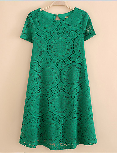 Women's Plus Size Sophisticated Loose Lace Dress - Solid Colored