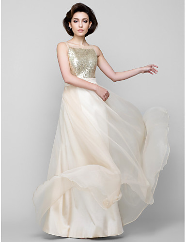 A-Line Square Neck Floor Length Chiffon Sequined Bridesmaid Dress with Sequins by LAN TING BRIDE®