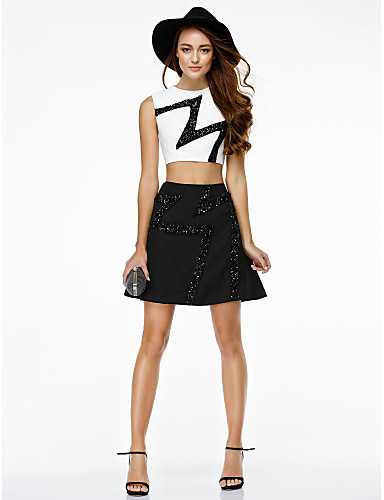 A-Line / Two Piece Jewel Neck Short / Mini Chiffon Cocktail Party / Homecoming / Prom Dress with Sequin by TS Couture®