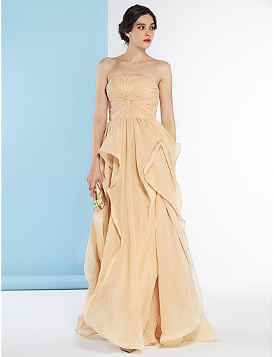 A-Line Strapless Floor Length Chiffon Bridesmaid Dress with Criss-Cross by LAN TING BRIDE®