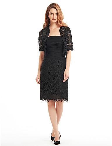 Ίσια Γραμμή Στράπλες Μέχρι το γόνατο Δαντέλα Φόρεμα Μητέρας της Νύφης - Δαντέλα Πιασίματα με LAN TING BRIDE®