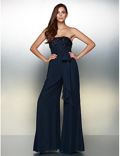 abordables Vestidos de Invitada de Boda-Mono Sin Tirantes Hasta el Suelo Raso Evento Formal Vestido con Cuentas / Lazo(s) por TS Couture®
