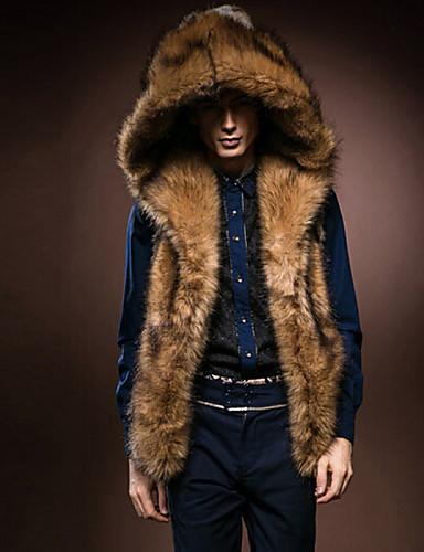 Men's Daily Winter Regular Fur Coat, Solid Hoodie