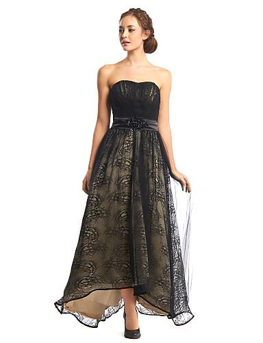 Krój A Bez ramiączek Asymetryczna Koronka Tiul Bal Kolacja oficjalna Sukienka z Fałdki Koronka przez TS Couture®
