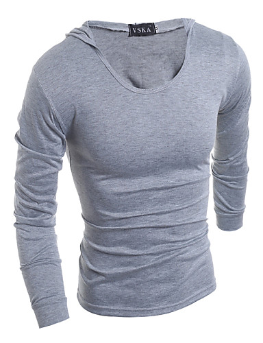 Homens Tamanhos Grandes Camiseta Sólido Moderno Algodão Com Capuz