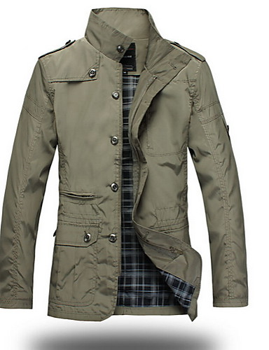 Men's Military Jacket - Solid Color Stand / Long Sleeve