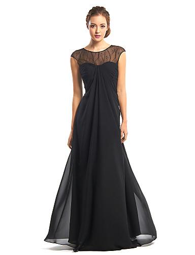 A-Şekilli Illüzyon boyun çizgisi Yere Kadar Şifon Dantel ile Resmi Akşam Elbise tarafından TS Couture®