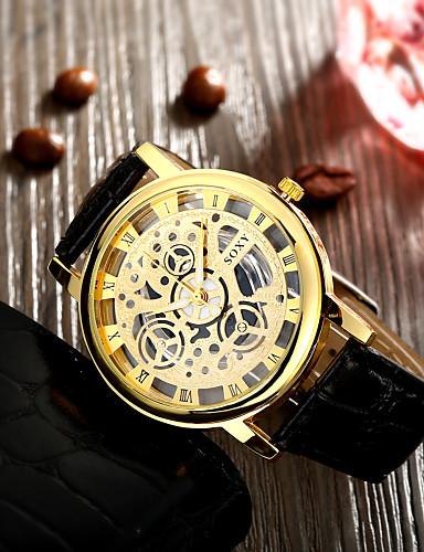 גברים שעון יד קווארץ חריתה חלולה שעונים יום יומיים עור להקה שחור לבן מוזהב