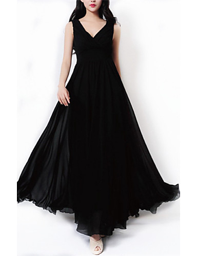 Γυναικεία Μεγάλα Μεγέθη Αργίες Εκλεπτυσμένο Σιφόν Swing Φόρεμα - Μονόχρωμο  Μακρύ Λαιμόκοψη V Μαύρο 1511590 2019 –  9.13 0645d043769