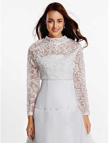 Long Sleeves Lace Wedding Party Evening Wedding  Wraps With Lace Coats / Jackets
