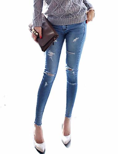 Feminino Skinny Jeans Calças Sexy Com Fenda Cintura Baixa Inelástico Todas as Estações