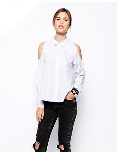 Kadın Orta Polyester Uzun Kollu Gömlek Yaka Sonbahar Solid Sade Günlük/Sade-Kadın Gömlek