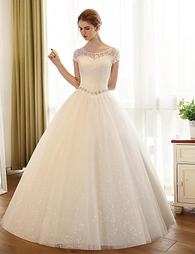 uma linha de colher de pescoço comprimento do chão vestido de casamento de tule com apliques de renda por noiva bordada