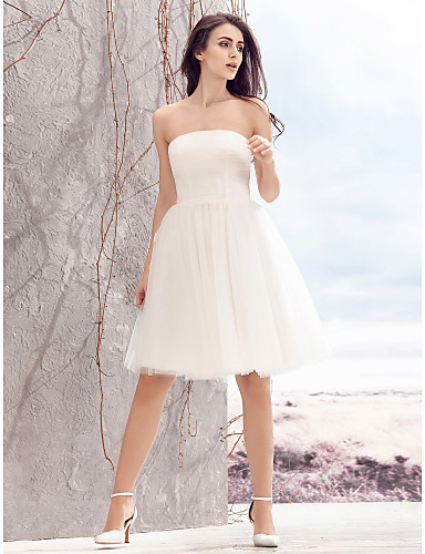 A-Line Strapless Knee Length Tulle Made-To-Measure Wedding Dresses with Ruched by LAN TING BRIDE® / Little White Dress