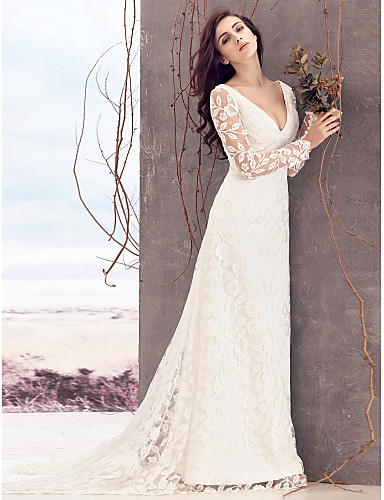 Sheath / Column V Neck Court Train Lace Wedding Dress with Lace by LAN TING BRIDE®