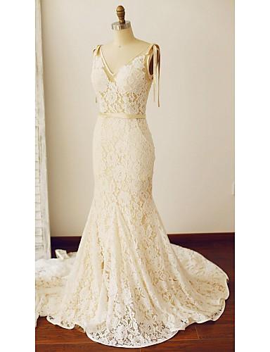 Sereia Vestido de Noiva Cauda Capela Decote V Renda com Bolsos / Faixa / Fita