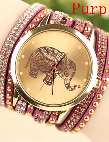 Women's Bracelet Watch Fashion Watch Quartz Hot Sale Leather Band Charm Black White Blue Red Purple