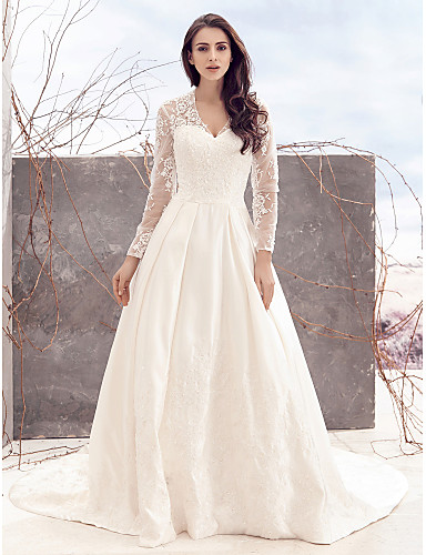 A-Line V-neck Chapel Train Lace Satin Wedding Dress with Lace by LAN TING BRIDE®