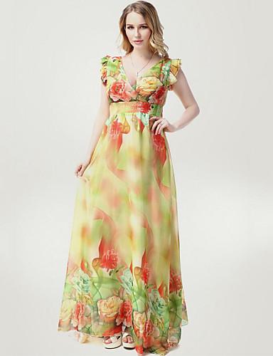 Women's Beach Plus Size Boho Swing Dress,Floral V Neck Maxi Sleeveless Polyester Summer High Rise Micro-elastic