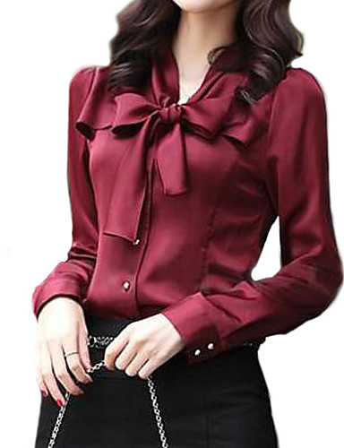 Women's Work Basic Shirt - Solid Colored Bow V Neck
