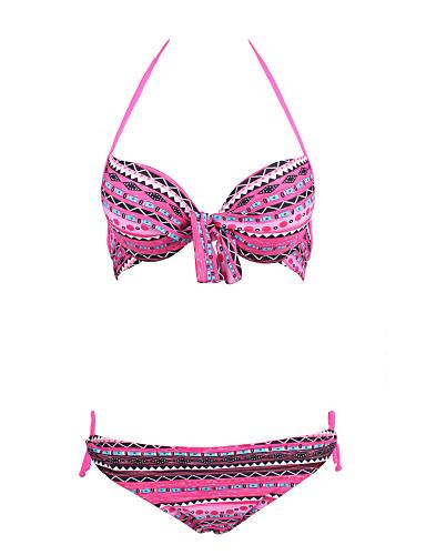 Virágmintás Pánt nélküli Női Bikini , Push-up / Párnás melltartó / Merevítős Melltartó Nejlon / Spandex