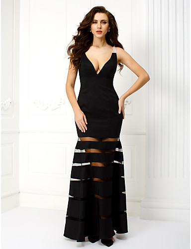 Sheath / Column V-neck Ankle Length Satin Prom Formal Evening Black Tie Gala Dress with Beading by TS Couture®