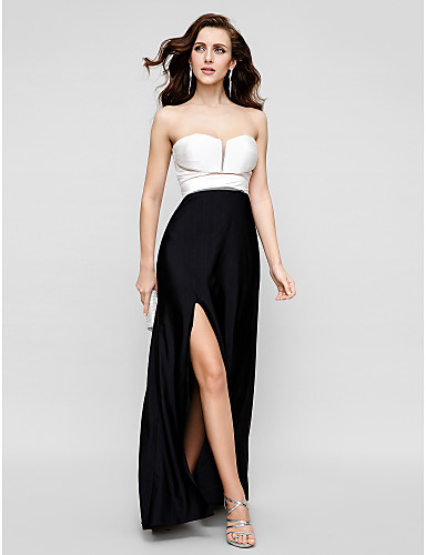 Sheath / Column Strapless Floor Length Satin Chiffon Prom / Formal Evening / Black Tie Gala Dress with Pleats Split Front by TS Couture®